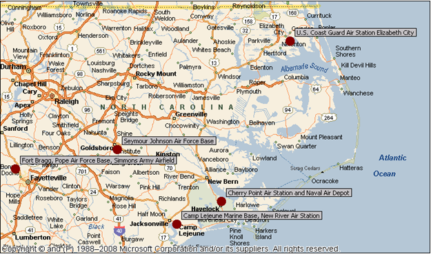 HVS | Mustering Military Demand in Southeastern Hotel Markets Charleston Air Force Base Map on